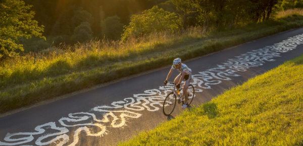 A cyclist on Box Hill