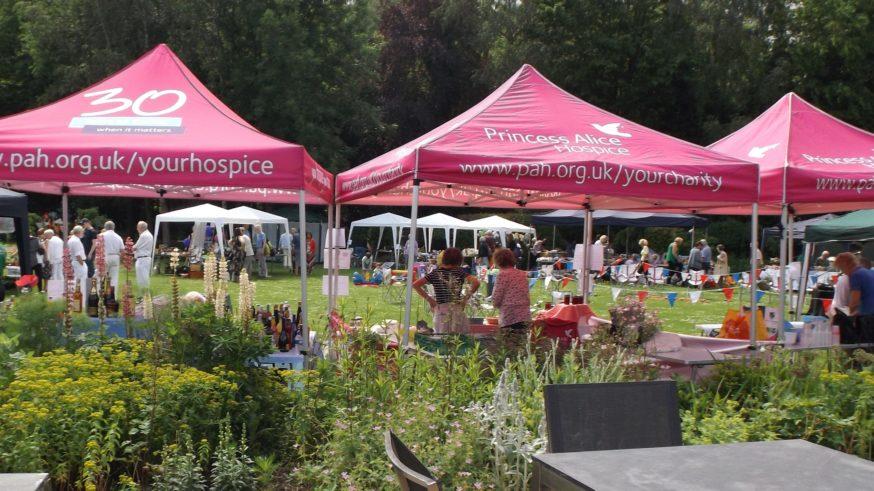 Hospice garden with summer fete underway