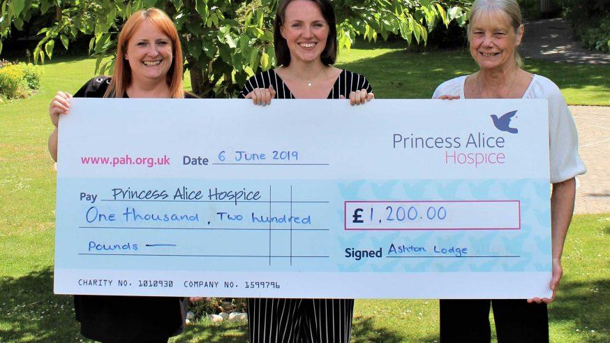 Ashton Lodge cheque for £1,200 for Princess Alice Hospice