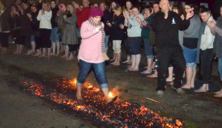 Someone walking on hot coals