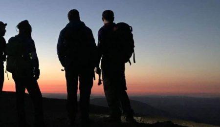 Walkers in silhouette